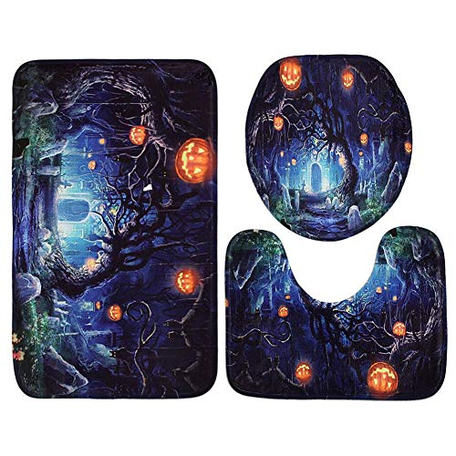 Spooky Tree and Pumpkins Halloween Bath Rugs Set