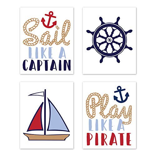 Sweet Jojo Designs Nautical Wall Art Prints Room Decor for Baby, Nursery, and Kids - Set of 4 - Red White and Blue Anchor Boat Ocean Sea
