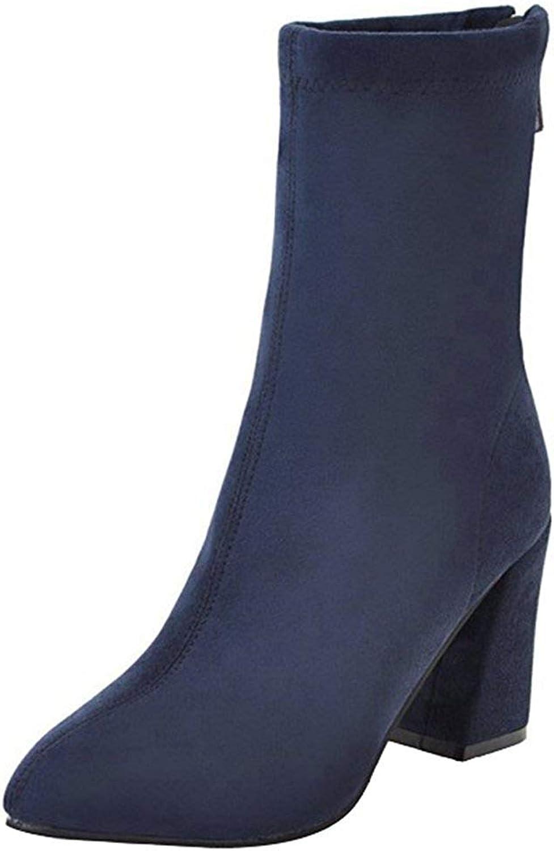 Gedigits Women's Dressy Splicing Block High Heel Pointed Toe Faux Suede Back Zipper Mid Calf Boots Black 4 M US