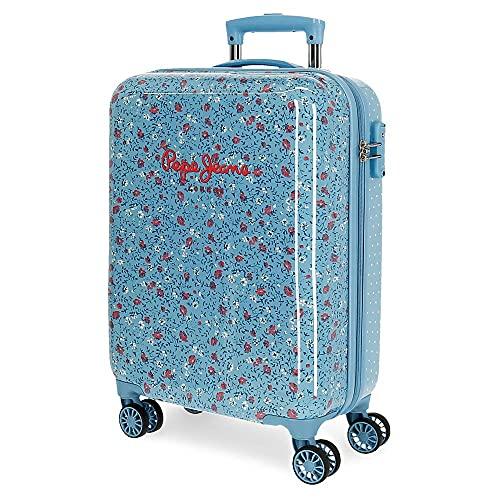Pepe Jeans AVA Maleta de Cabina Azul 38x55x20 cms ABS Cierre TSA 34 L 2,5 kgs 4 Ruedas Dobles Equipaje de Mano