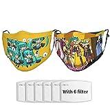Hatsune Miku 2pcs Face Mask With 2 Filters, Breathable Adjustable Dust Mask Wrap Hood, Adult Unisex Black. One Size