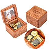 Natural Wooden Music Box with Customizable Photos Wind Up Music Box for Friends,Spouse,Kids (Rosewood, Tone:Fly me to The Moon)