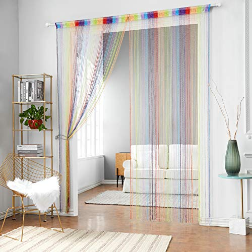 HSYLYM 1x2M Door String Curtains Flat Silver Ribbon Window Blinds Pannel Room Divider for Party Wedding Coffee House