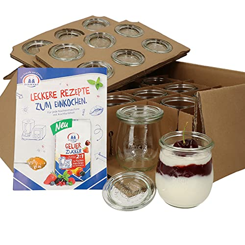12er Set Weck Gläser 220 ml Tulpengläser mit 12 Glasdeckeln incl. Diamant-Zucker Gelierzauber Rezeptheft