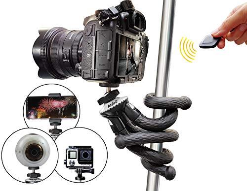 Flexibles Stativ für Smartphone mit Bluetooth-Auslöser, Selfiestick, Reisestativ für iPhone X XS Samsung S7 Edge S8 S9+ S10 Plus S20 Huawei P30 P40 DSLR Canon Nikon Sony Actioncam GoPro - weiß, Atairs