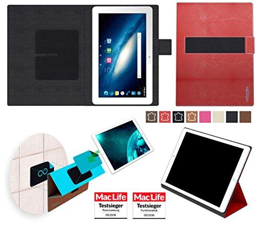 reboon Hülle für Odys Space 10 Plus 3G Tasche Cover Case Bumper | in Rot Leder | Testsieger