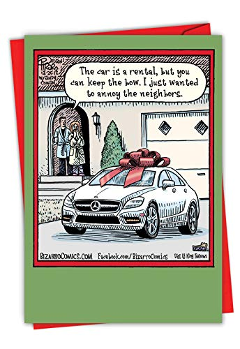 Keep the Bow - Funny New Car Christmas Card with Envelope (4.63 x 6.75 Inch) - Merry Xmas Wish List, Illustrated Happy Holidays Note Card for Wife, Women - Season's Greetings Stationery 1857