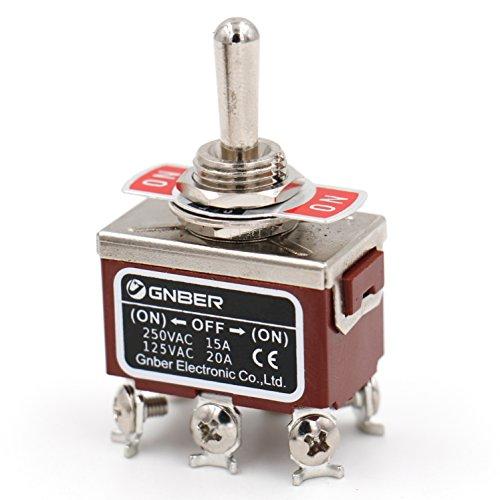 Heschen - Interrupteur à Bascule DPDT momentané en métal - (on)/Off/(on) 3 Positions - 15 A, 250 Volts AC, CE