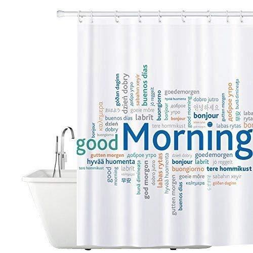 Tatkraft Good Morning Duschvorhang 180X180cm Peva Wasserdicht Schimmelfrei mit 12 Duschringen