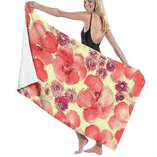 Toallas de Playa de Microfibra de Flores Rojas Toallas de Piscina de SPA súper absorbentes de Secado rápido para Nadar al Aire Libre