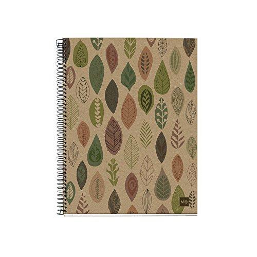 Miquelrius - Cuaderno 100% Reciclado, 4 Franjas de Color, A4, 120 Hojas Cuadriculadas 5 mm, Papel 80 g, 4 Taladros, Cubierta de Cartón Reciclado, Diseño Ecohojas
