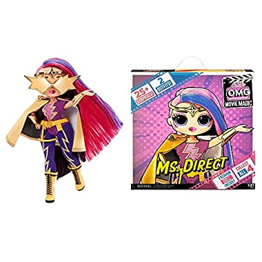 LOL Surprise OMG Movie Magic Ms. Direct Fashion Doll with 25 Surprises Including 2 Fashion Outfits, 3D Glasses, Movie…