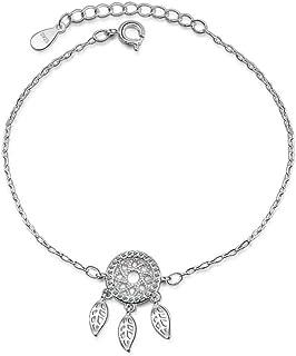 Belons Pulsera para niñas de plata de ley 925 con circonita cúbica y colgante de atrapasueños, cadena de mano ajustable pa...