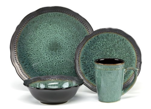 Cuisinart CDST1-S4JEG Stoneware Jenna Green Collection 16-Piece Dinnerware Sets