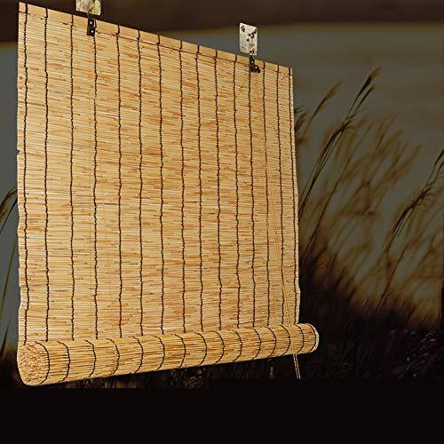 Geovne Estores de Bambú,Cortina de Caña,Raw Bambú Roller-Blind Cierre por Hilo de Nailon con Polea,En Interiores y Exteriores Ventana Persianas Múltiples Tamaños (50x120cm/20x47in)