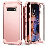 Galaxy S10 Case, Galaxy S10 Case Rose Gold for Women Girls, IDweel 3 in 1 Shockproof Slim Hybrid Heavy Duty Protection Hard PC Cover Soft Silicone Rugged Bumper Full Body Bumper Case, Rose Gold