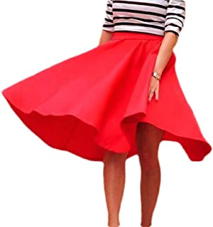 Women's Summer Stylish Pure Color High Waisted OL Swing A-Line Skirt Midi Dress