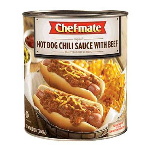 Chef-Mate Hot Dog Chili Sauce with Beef - 108 oz. can, 6 per case