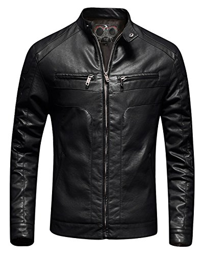 Mens Casual Slim Fit Moto Bomber Biker Racer Jacket Faux Leather Black, Large
