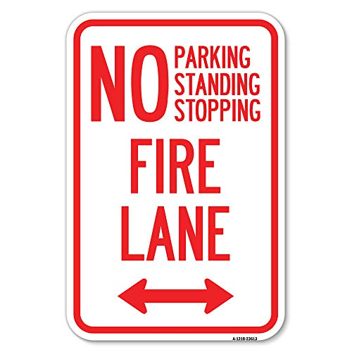 """No Parking, Standing or Stopping, Fire Lane with Bidirectional Arrow 