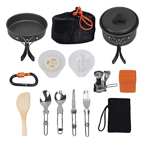 GoodFaith - Juego de ollas portátiles para picnic, cuchillo, cuchara, sacacorchos, sartenes, batería de cocina, juego de cocina para camping con vajilla antiadherente 13 piezas para 1 – 2 personas, Negro