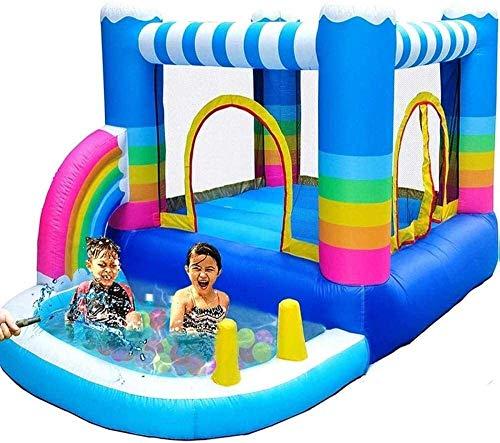 RVTYR Piscinas Infantiles for niños Inflable casa de la Despedida Inflable Castillo con 350W Piscina Rainbow Blow Up Interior y Exterior Pequeño tobogan Infantil