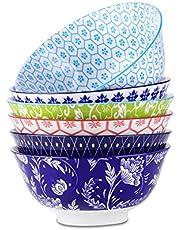 vancasso Cuencos de Porcelana conjunto de 6 Tazones de Ramen de Estilo Japonés Pintado a mano 6 Patrones, Gran capacidad 750ML, Desayuno, Cereal, Tazón de Sopa