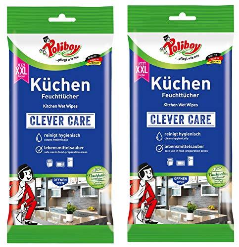 Poliboy - Küchen Feuchttücher - Kraftvolle & gründliche Reinigung für alle abwaschbaren Oberflächen - 2er Pack - 2x24 Tücher - Made in Germany