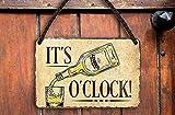 Targa in metallo divertente con scritta in inglese 'It's Whiskey O'clock!', decorazione scozzese irlandese per pub, banco di compleanno, Natale, fan delle bevande spiritose, 18 x 12 cm