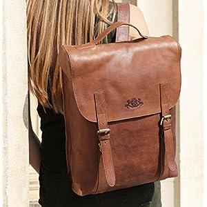 "51EuSHwFopL. SS300  - SID & VAIN® Mochila Eton Backpack portátil 15"" Ordenador Bolso de Hombro Piel marrón"