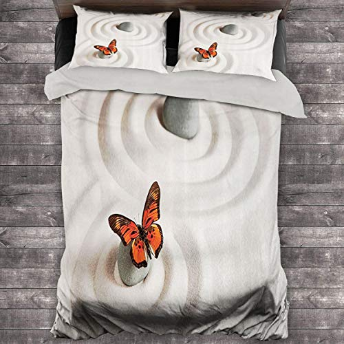 Miles Ralph Butterflies Decor Duvet Cover Zen Rock on The Sand Butterfly Serenity Life Cycle Nature Meditation Decor King Duvet Cover 104'x89' inch LBeige and Orange