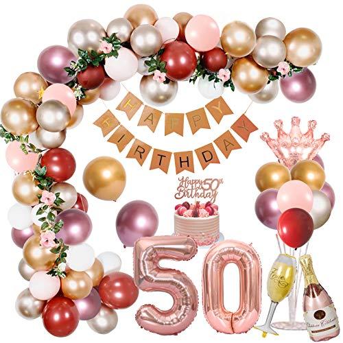 Decoración de 50 cumpleaños para mujer, globos metálicos de color rosa dorado y plateado con pancarta de feliz cumpleaños, globos rojos de granada, globos de papel de aluminio, decoración para tarta