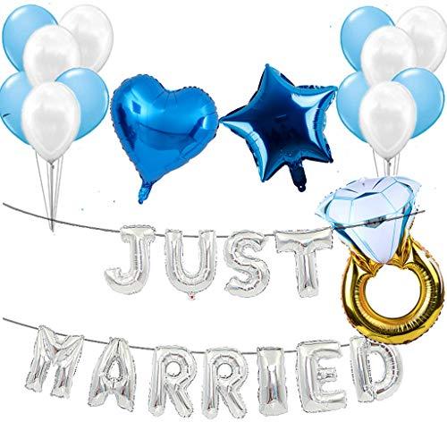 Just Married - Globos decorativos para fiestas de boda, color plateado y azul