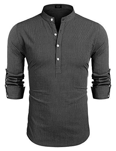 COOFANDY Herren Gestreiftes Hemd Langarm mit Kurze Kragen Baumwolle Bügelfrei Businesshemd für Männer Schwarz Weiss XL
