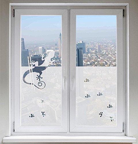 INDIGOS UG Glasdekorfolie Sonnenschutz Fensterbild Sichtschutz Gecko satiniert Blickdicht - 500-2000 mm - Dekoration Sonnenschutz Folie - Fenster Büro Tür Badezimmer