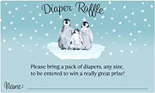 Diaper Raffle Ticket Winter Baby Shower Little Penguin Sprinkle Diaper Party Inserts Snow Snowy Blue Penguins Gift Ideas Games Activities Gender Neutral Unisex (25 Count)