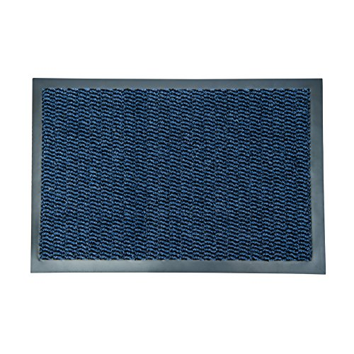 """Ultralux Indoor Entrance Mat   24"""" x 35""""   Polypropylene Fibers and Anti-Slip Vinyl Backed Entry Rug Doormat   Blue   Home or Office Use   Multiple Sizes"""