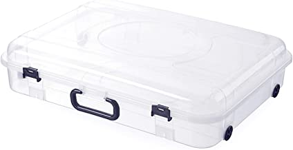 HOUZE SB-1141 30L Underbed Storage with Wheels and Handle, Clear