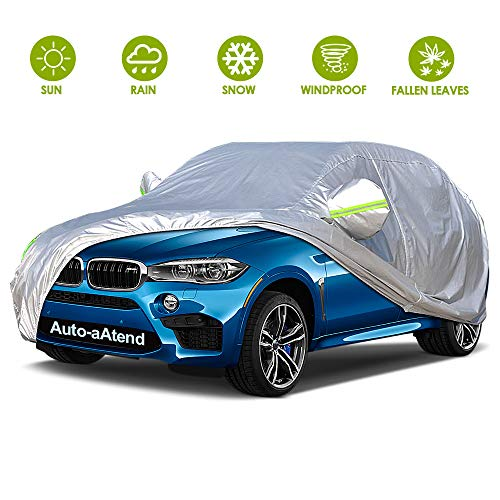 Car Cover 4 Layers Outdoor SUV Car Cover Universal Full Car Covers for Automobiles All Weather Waterproof UV Protection Windproof Rain Dust Scratch Snow Car Cover Fit SUV Large(190''-201'')