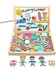 Fajiabao モンテッソーリ 木製おもちゃ 磁石 おもちゃ パズル 積み木 女の子 男の子 2 3 4 5 6 歳 動物 知育玩具 マグネット お絵かきボード 出産祝い 誕生日プレゼント ハロウィン ギフト