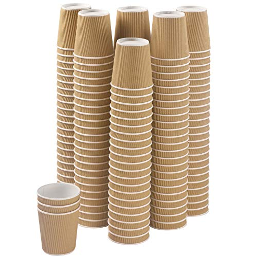 Set of 150 Ripple Insulated Kraft 6-oz Paper Cups – Coffee/Tea Hot Cups | Recyclable |3-Layer Rippled Wall For Better Insulation | Perfect for Cappuccino, Hot Cocoa, or Iced Drinks