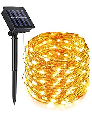 ECOWHO Solar String Lights Outdoor Solar Fairy Lights Waterproof 72ft 200 LED Solar Lights Outdoor String Decorative Lighting for Home Dancing Patio Garden Yard Party Wedding (Warm White)
