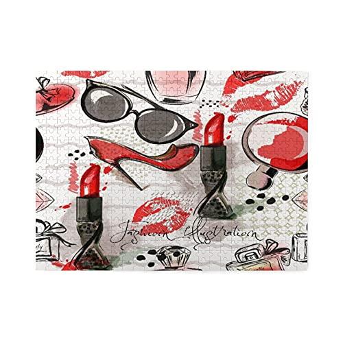 Rompecabezas de 500 piezas,ilustración de moda o patrón con lápiz labial rojo,zapatos,gafas y perfume,juego de rompecabezas para familias numerosas,ilustraciones para adultos y adolescentes