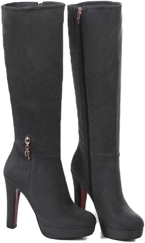 Kyle Walsh Pa Women Knee High Boots Square High Heel Platform Botas Ladies Autumn Winter Pumps shoes