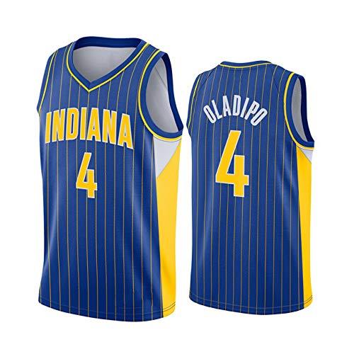 Herren Trikots - Indiana Pacers # 4 Victor Oladipo Basketball Uniformen, Bestickt Atmungsaktiv Ärmellose Weste Basketball Swingman Trikot Blue-XXL