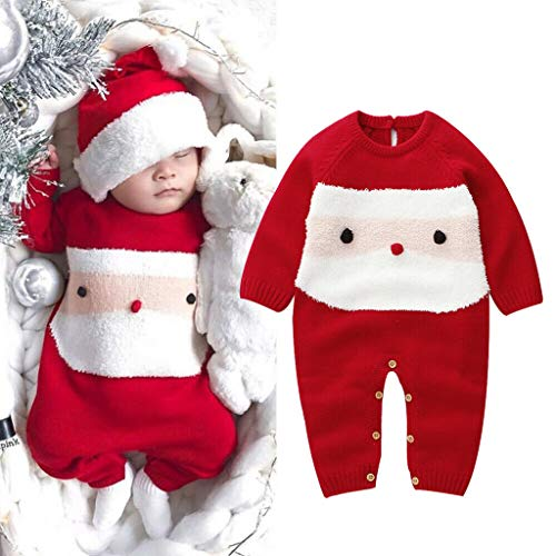 Baby Christmas Santa Cartoon Plush Romper Xmas Knit Long Sleeve Jumpsuit Photography Props Costume...