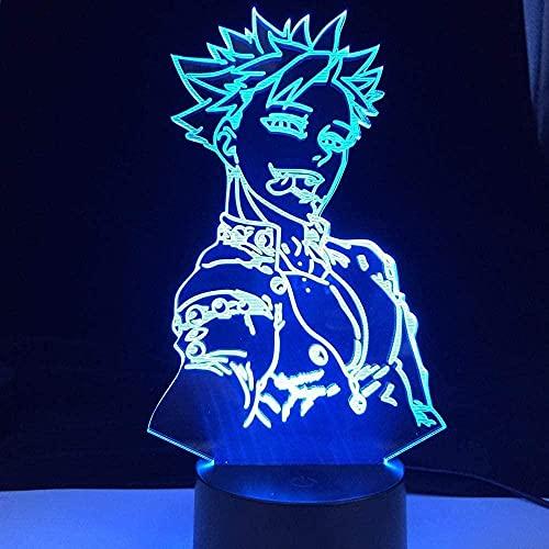 Cumpleaños 3D ilusión luz LED noche prohibición animada lámpara siete pecados mortales acrílico láser grabado lámpara de detección para niños regalo 16 colores