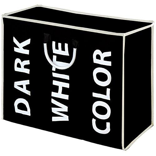 FunkyBuys - Cesto portabiancheria a 3 scomparti per capi colorati, bianchi e neri, 100% poliestere 3 scomparti (nero) Black
