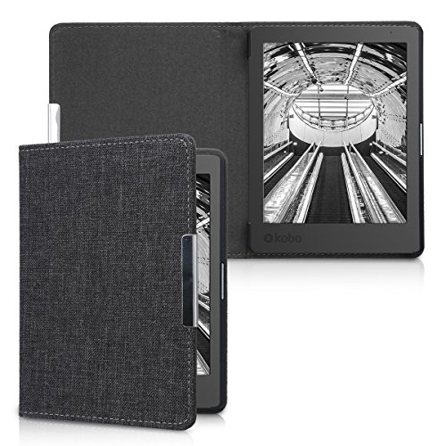 kwmobile Cover Compatibile con Kobo Aura Edition 1 - Custodia a Libro in Tessuto - Copertina Flip Case per Lettore eReader