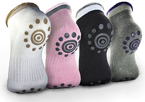 Rahabsox Best Non -Slip Skid Yoga Pilates Socks with Grips Cotton for Women (4 Packs)